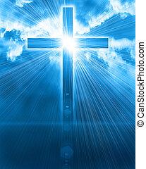 glødende, kors, ind, himmel