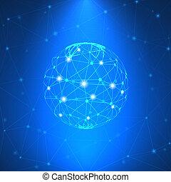 glødende, netværk, tegn