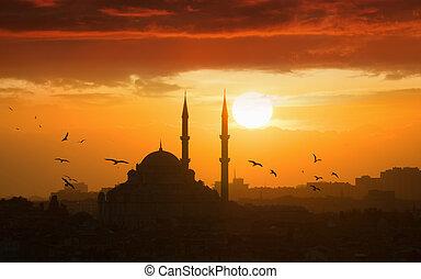 glødende, solnedgang, ind, istanbul, tyrkiet