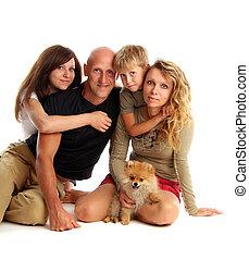 glück, familie, mit, a, hund, 4