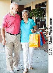 glücklich, älter, käufer