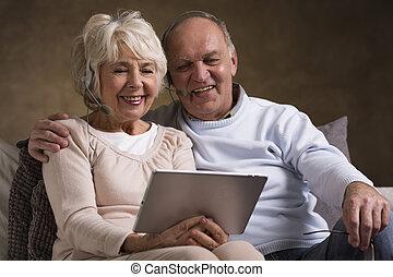 glücklich, ältere leute