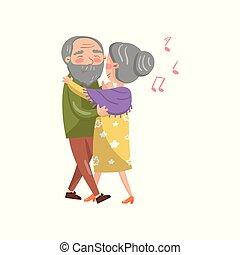 glücklich, ältere paare, tanzen, karikatur, vektor, abbildung