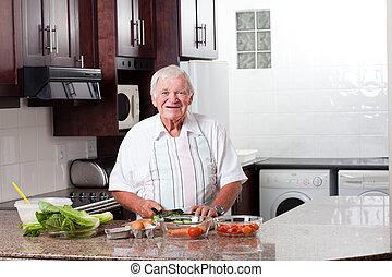 glücklich, älterer mann, vorbereiten nahrung