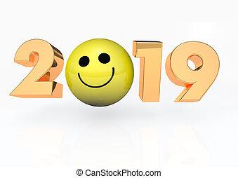 glücklich, 3d, 2019, render, gesicht