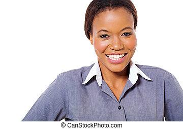 glücklich, afrikanischer amerikaner, geschäftsfrau