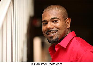 glücklich, afrikanischer amerikanischer mann
