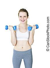 glücklich, aktive, m�dchen, besitz, gewichte