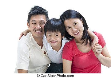glücklich, asiatische familie