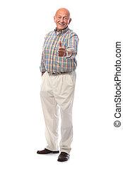 glücklich, auf, daumen, älterer mann, shows