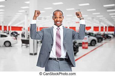glücklich, auto, dealer.