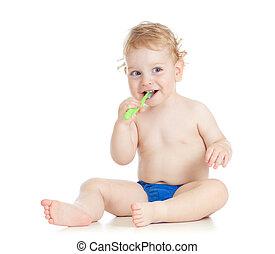 glücklich, baby kind, zähneputzen