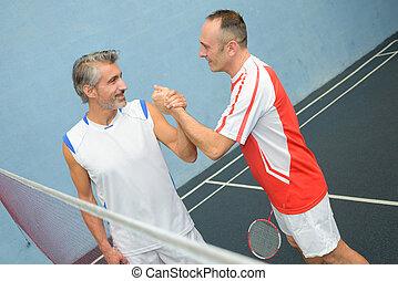 glücklich, badminton, mannschaft