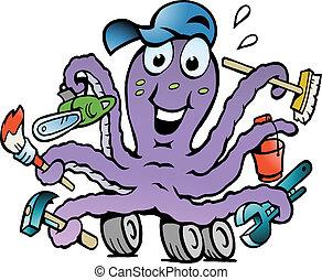 glücklich, beschäftigt, oktopus, heimwerker