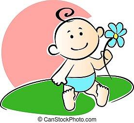 glücklich, bezaubernd, säugling, spielende , mit, a, blume
