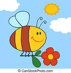 glücklich, biene, fliegendes, mit, blume, in, himmelsgewölbe