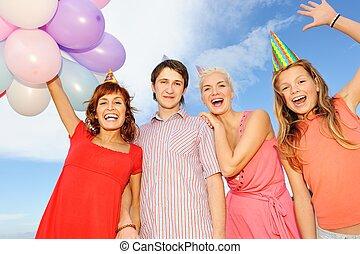 glücklich, bild, friends