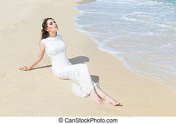 glücklich, braut, spaß haben, auf, a, tropische , strand., wedding, und, flitterwochen, auf, der, tropische , island.