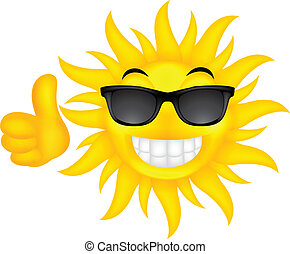 glücklich, brille, sonne, sommer