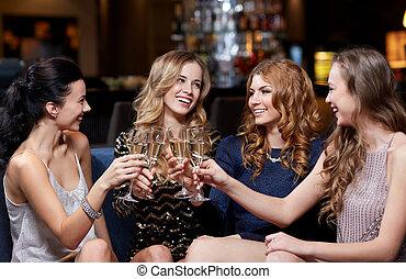glücklich, champagner, klub, nacht, brille, frauen