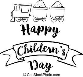 glücklich, childrens, tag, mit, zug