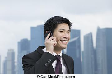 glücklich, chinesisches , kaufleuten zürich, reden telefon, vor, stadt