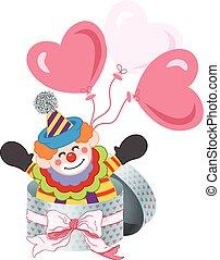 glücklich, clown, in, runder , geschenkschachtel, mit, schleife, geschenkband, und, luftballone