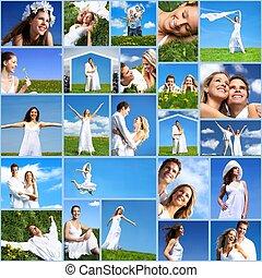 glücklich, collage., leute