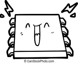 glücklich, computerchip, karikatur