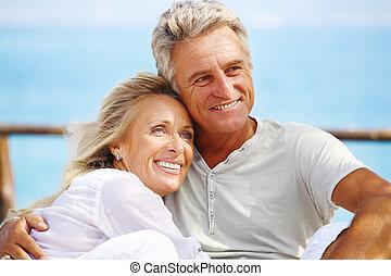 glücklich, fälliges ehepaar