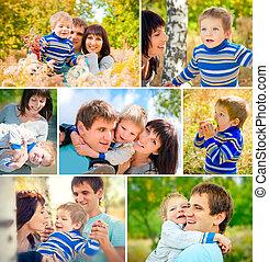 glücklich, family., collage