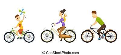 glücklich, family., radfahren, entlang, der, straße, in, natürlich, scenery., eltern, son., feiertag reise, begriff, von, fahrrad, culture., treiber, family., übung, health., vektor, illustration.