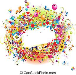 glücklich, feiertag, lustiges, rahmen, mit, ballons