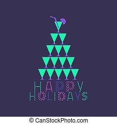 glücklich, feiertage, karte