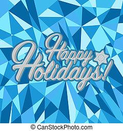 glücklich, feiertage, zeichen, blauer hintergrund