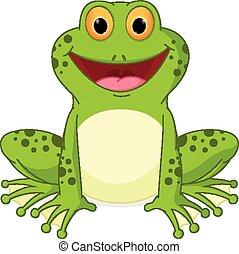 glücklich, frosch, karikatur