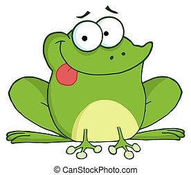 glücklich, frosch, karikatur, zeichen