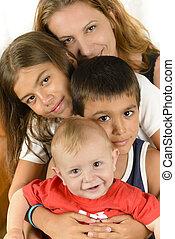 glücklich, genießen, familie togetherness
