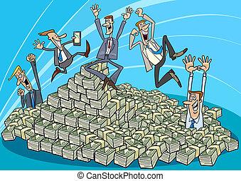 glücklich, geschäftsmänner, und, haufen, von, geld