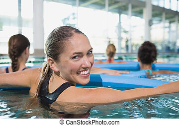glücklich, gesundheit klasse, machen, aqua, aerobik, mit,...