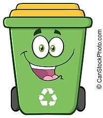 glücklich, grün, verwerten behälter wieder
