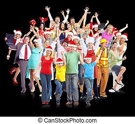 glücklich, group., weihnachten, leute