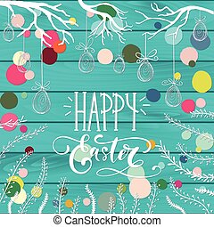 glücklich, gruß, feiertag, ostern, karte, feier