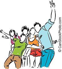 glücklich, gruppe, abbildung, leute