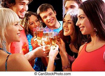 glücklich, gruppe, von, junger, friends, berühren, der, brille, mit, einander