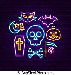 glücklich, halloween, neon, begriff