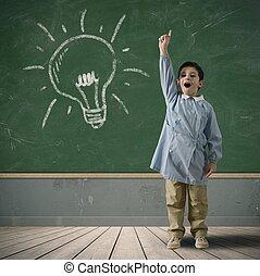 glücklich, idee, kind