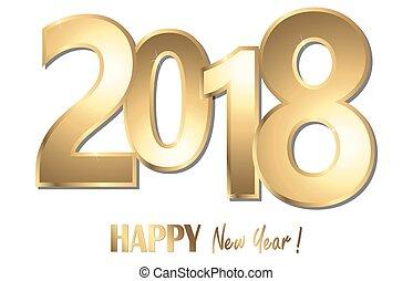 glücklich, jahr, neu , hintergrund, 2018, grüße