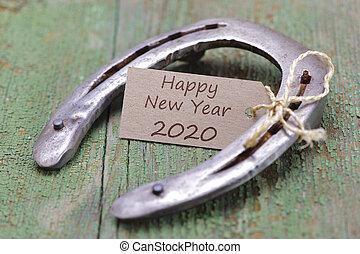 glücklich, jahr, neu , schuh, rostiges , 2020, pferd