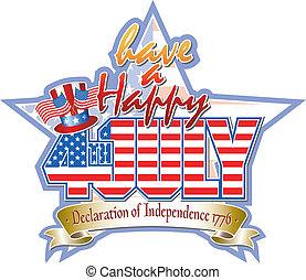 glücklich, juli, vektorgrafik, 4., stern